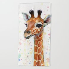 Giraffe Baby Watercolor Beach Towel