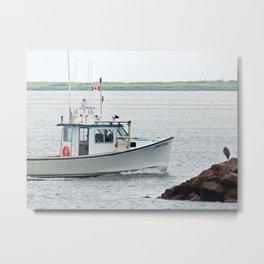 Great Blue Heron and Fishing Boat Metal Print