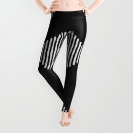 Diamond Stripe Geometric Block Print in Black and White Leggings