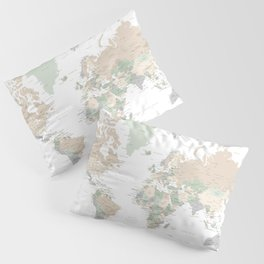 """World map with cities, """"Anouk"""" Pillow Sham"""
