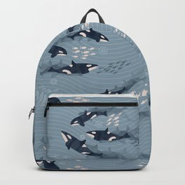 Orca in Motion / blue-gray ocean pattern Backpack