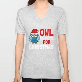 Owl be home for Christmas Unisex V-Neck