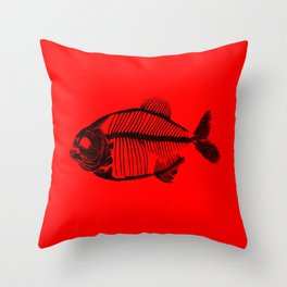 Memoria Amazonica - Piranha Skeleton Throw Pillow
