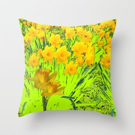 YELLOW SPRING DAFFODILS GARDEN Throw Pillow