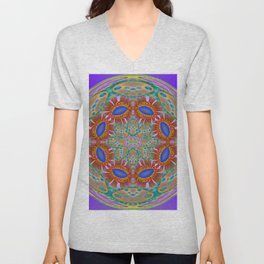 Indigo Glow Crown Chakra Mandala Unisex V-Neck