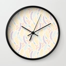 Modern ivory yellow purple abstract floral illustration Wall Clock