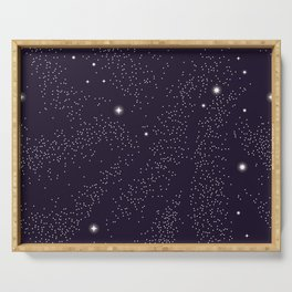Universe with planets and stars seamless pattern, cosmos starry night sky 005 Serving Tray