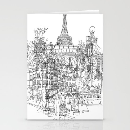 Paris! B&W Stationery Cards