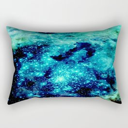 GALAXY. Teal Aqua Stars Rectangular Pillow
