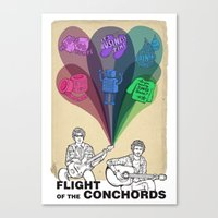 flight of the conchords Canvas Prints featuring Flight of the Conchords by Kirstie Battson