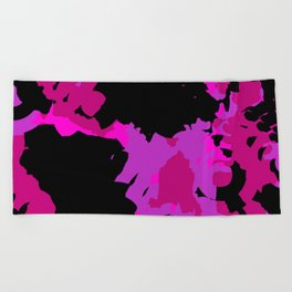 Fuchsia and black abstract Beach Towel