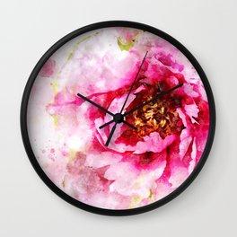 Pink Peony Watercolor Splash Wall Clock