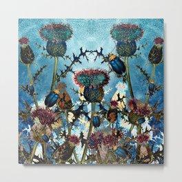 Blue Beetles and Thistles Pattern Metal Print