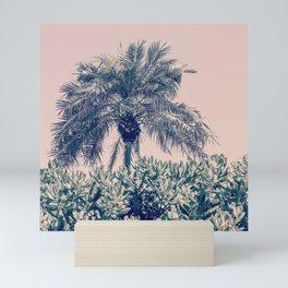 Palm with peach sky Mini Art Print
