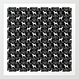 Bloodhound black and white minimal floral pattern dog breeds pet art Art Print