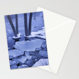 Ice Floes Crash And Creep At Edge Of The Otonabee River. Stationery Cards