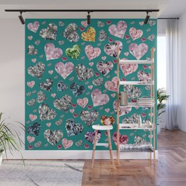 Heart Diamonds are Forever Love Teal Wall Mural
