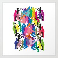 it crowd Art Prints featuring Crowd by Emmanuelle Ly