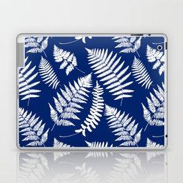 Woodland Fern Pattern, Cobalt Blue and White Laptop & iPad Skin