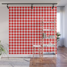Australian Flag Red and White Jackaroo Gingham Check Wall Mural