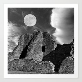 Pueblo Bonito Ruin Beneath the Moon Art Print