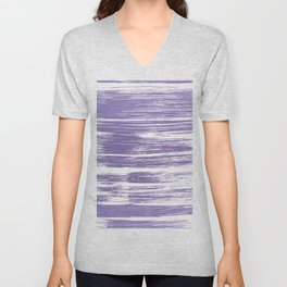 Modern abstract lilac lavender white watercolor brushstrokes Unisex V-Neck