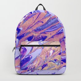 Fluid Acrylic Painting Multi Color Glitch Wave Effect Purple Lilac Beige Pink Backpack