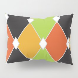 Orange, green and black jester diamonds Pillow Sham