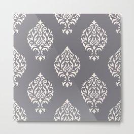 Orna Damask Pattern Cream on Grey Metal Print