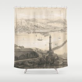 Vintage Pictorial Map of Genoa Italy (1850s) Shower Curtain