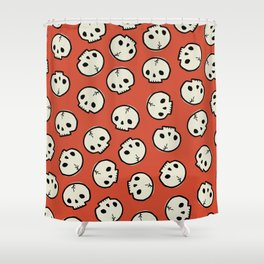 Spooky Skull Pattern in Orange Shower Curtain