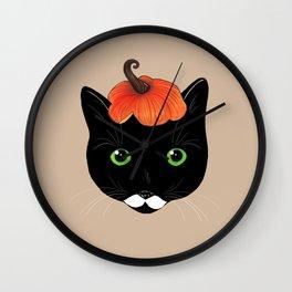Pumpkin Kitty Wall Clock