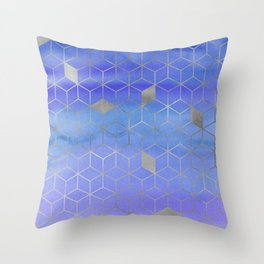 Silver Foil and Blue Watercolor Abstract Geometric iPhone Case & Cover Throw Pillow