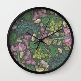 Pink hyacinth with chamomile and green hop on dark background Wall Clock