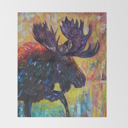 Moose by OLena Art Throw Blanket