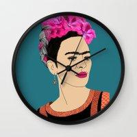 frida kahlo Wall Clocks featuring Frida Kahlo by Stephanie Jett