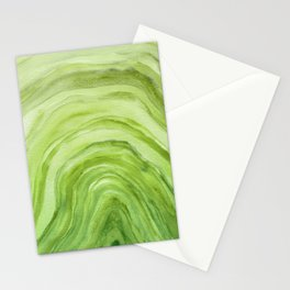 Agate II - Lime Green Watercolor Stationery Cards
