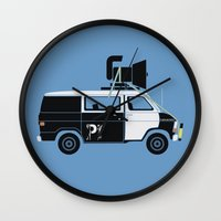 blues brothers Wall Clocks featuring The Blues Brothers' Van by Brandon Ortwein