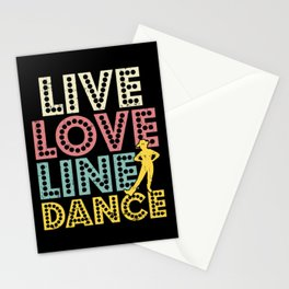 Live Love Line Dance - Country Western Dancing Stationery Cards