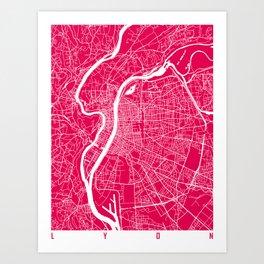 Lyon map raspberry Art Print