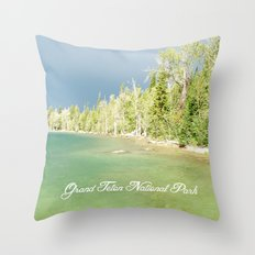 Grand Teton National Park. Landscape photography of lake and trees. Throw Pillow