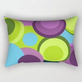 Geometrics, composition of circles in green, purple and blue Rectangular Pillow