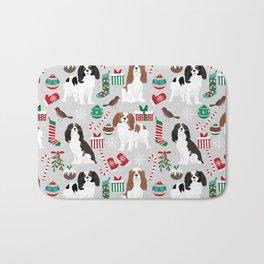 Cavalier King Charles Spaniel christmas pattern gift for dog lover pet friendly pet portrait Bath Mat