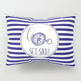 Marine - set sail compass Pillow Sham