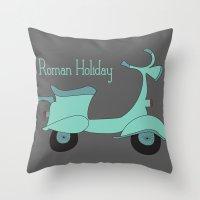 roman Throw Pillows featuring Roman Holiday by Halamo Designs