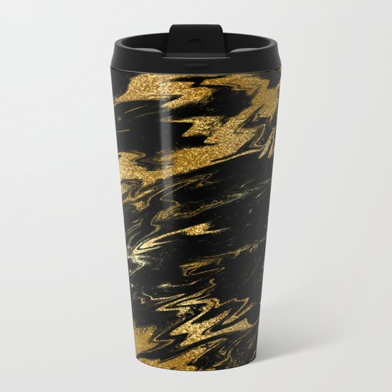 Luxury and sparkle gold glitter and black marble on #Society6 Metal Travel Mug