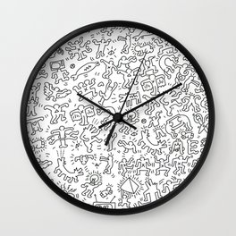 Doodles Homage to Keith Haring  Wall Clock