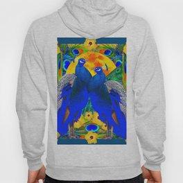 TEAL YELLOW HIBISCUS & BLUE PEACOCKS ART Hoody