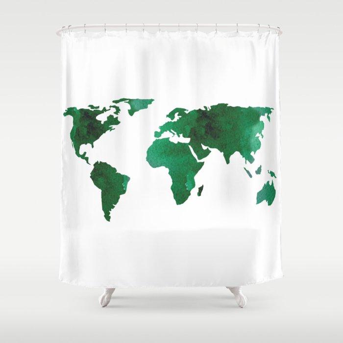 World Map Vibrant Green Earth Shower Curtain