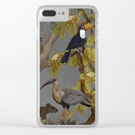 assembly of birds and one cute agouti Clear iPhone Case